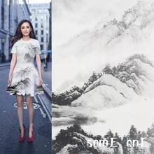 50x150cm New Landscape painting Printed Stretch Fabric  Space cotton Scuba DIY Cheongsam Dress Doll decor Designer fabric