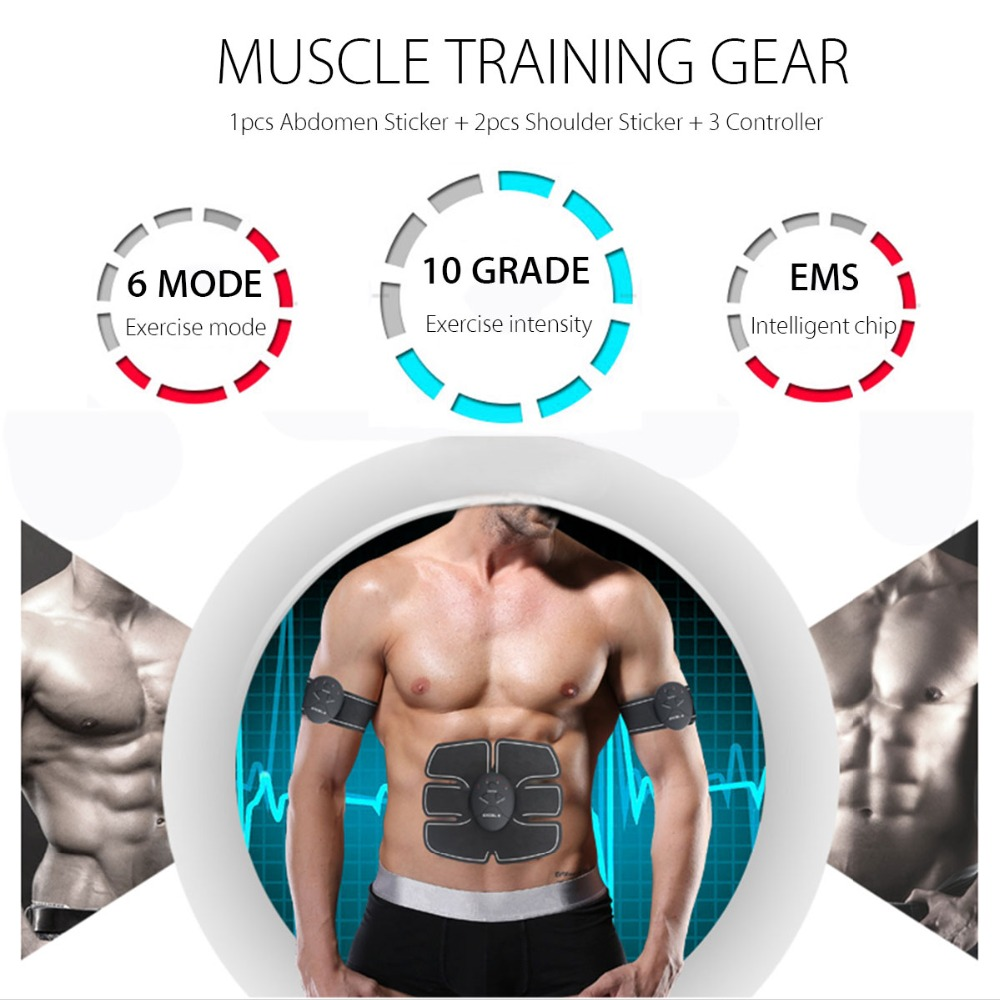 EMS Wireless Muscle Stimulator Trainer Smart Fitness Abdominal Training Electric Weight Loss Stickers Body Slimming Belt Unisex 3