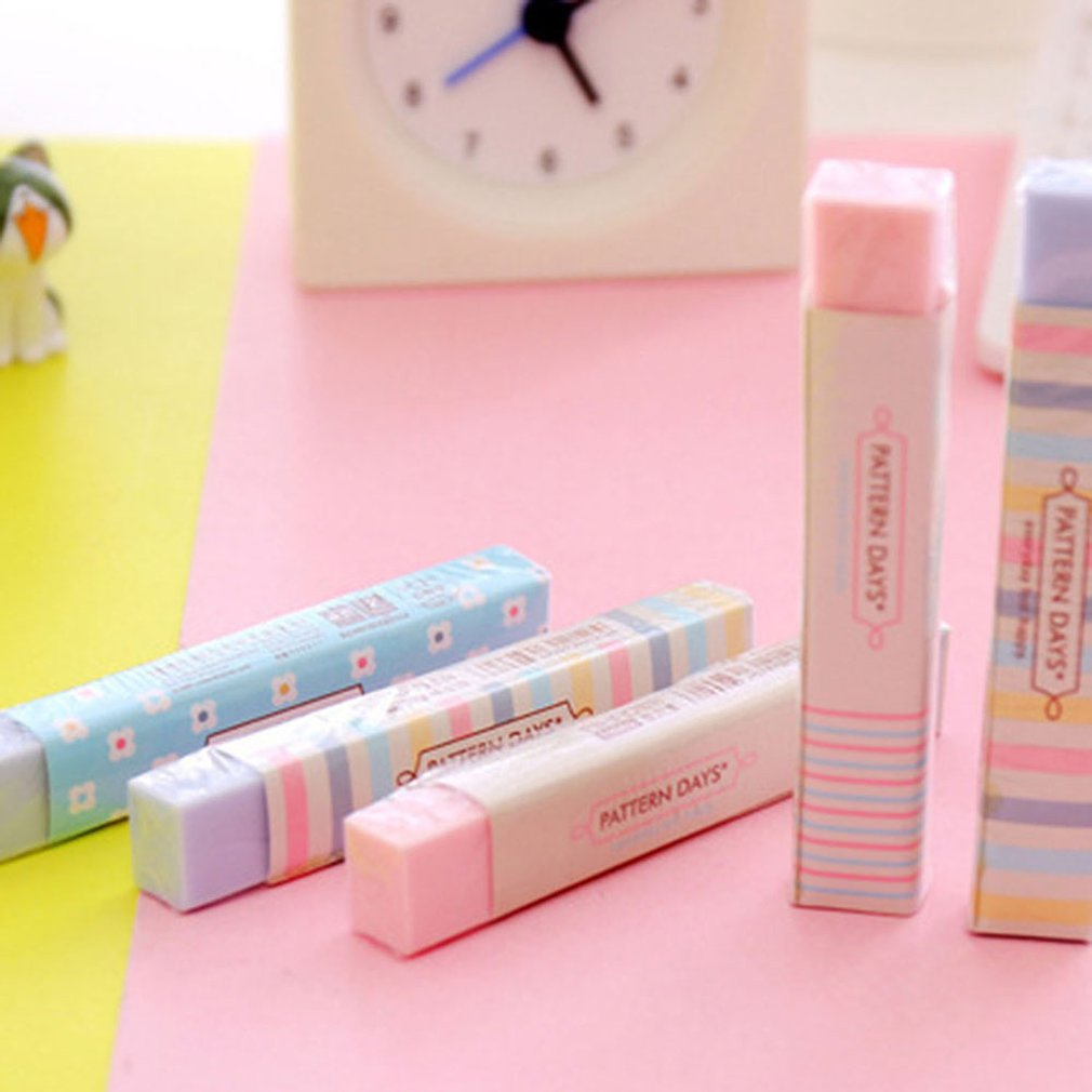 Cute Kawaii Heart Flower Rubber Erasers Lovely Stripe Pencil Eraser For Kids Gift Creative Korean Stationery Novelty Item