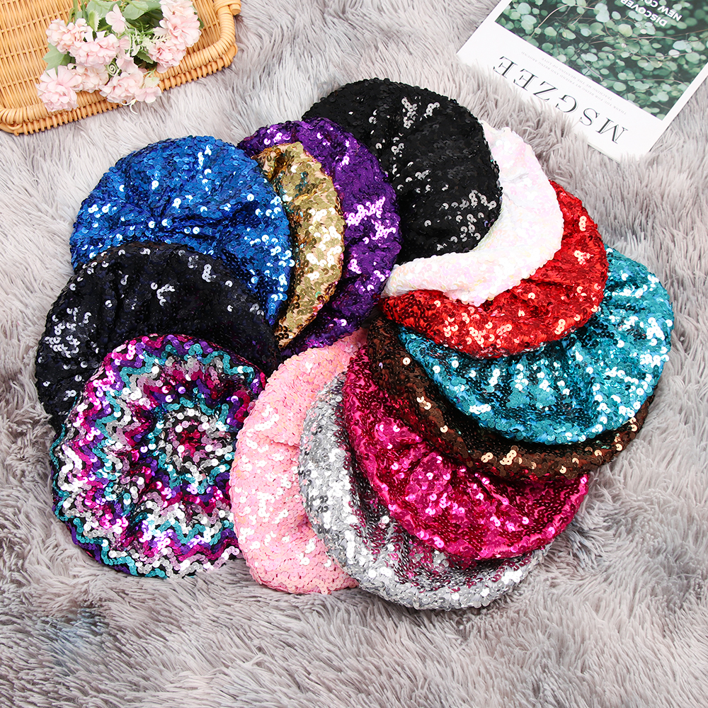 Fashion Women Glitter Sequins Beret For Women Dance Stage Cap Girls Lady Casual Graceful Beret Hats Caps Charming Night Club Hat