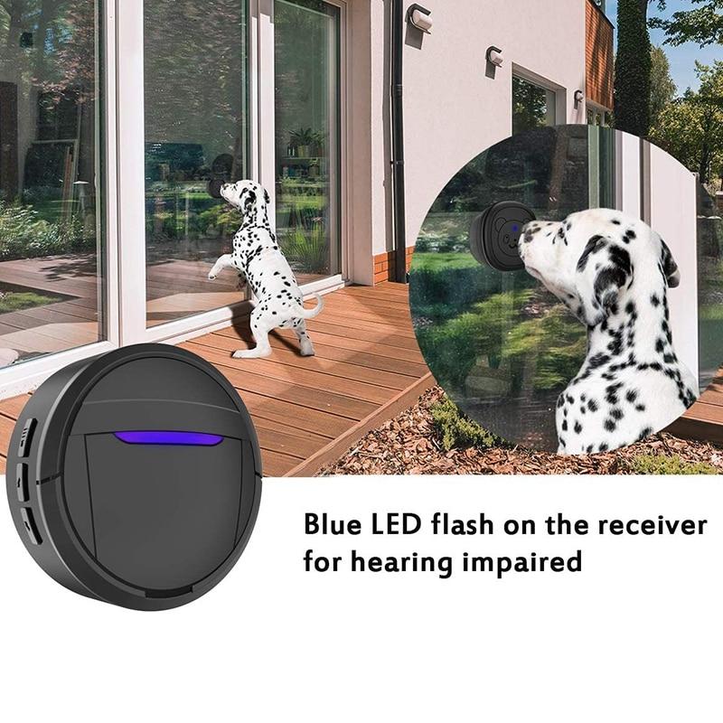 Dog Doorbell, Black & White Wireless Communication Doorbell , Waterproof Smart Bell for Puppies with Super-Light Press Button, I-1
