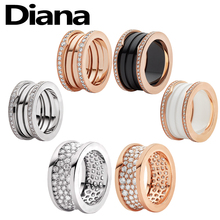 Diana high quality fit Bulgaria S925 sterling silver ring fashion jewelry ceramic spring shape ladies couples ring wedding gift diana high quality for bulgaria s925 sterling silver necklace rotating round cake shape brand design ladies fashion jewelry