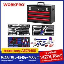 WORKPRO 408PC Set di Strumenti di Casa Meccanica Tool Set con 3 Cassetto Heavy Duty Scatola di Metallo