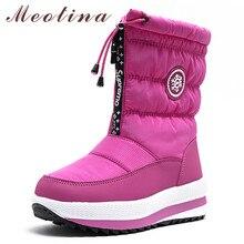 Meotina Winter Snow Boots Women Warm Plush Flat Platform Ankle Zipper Waterproof Non-slip Ladies Shoes Size 36-41