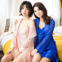 Sexy Women Robe & Gown Sets Lace Sleepwear Pink Blue Plue Size Peignoir Set Pajama Dress Kimono Set Lingerie with Robe Nighty lace insert cami pajama set with robe
