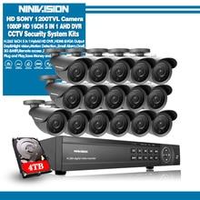 NINIVISION AHD CCTV מערכת 16CH AHD 1080P טלוויזיה במעגל סגור DVR ערכת HDMI 1080N 1200TVL IR מצלמות אבטחת מערכת 16 ערוץ טלוויזיה במעגל סגור NVR 1TB HDD