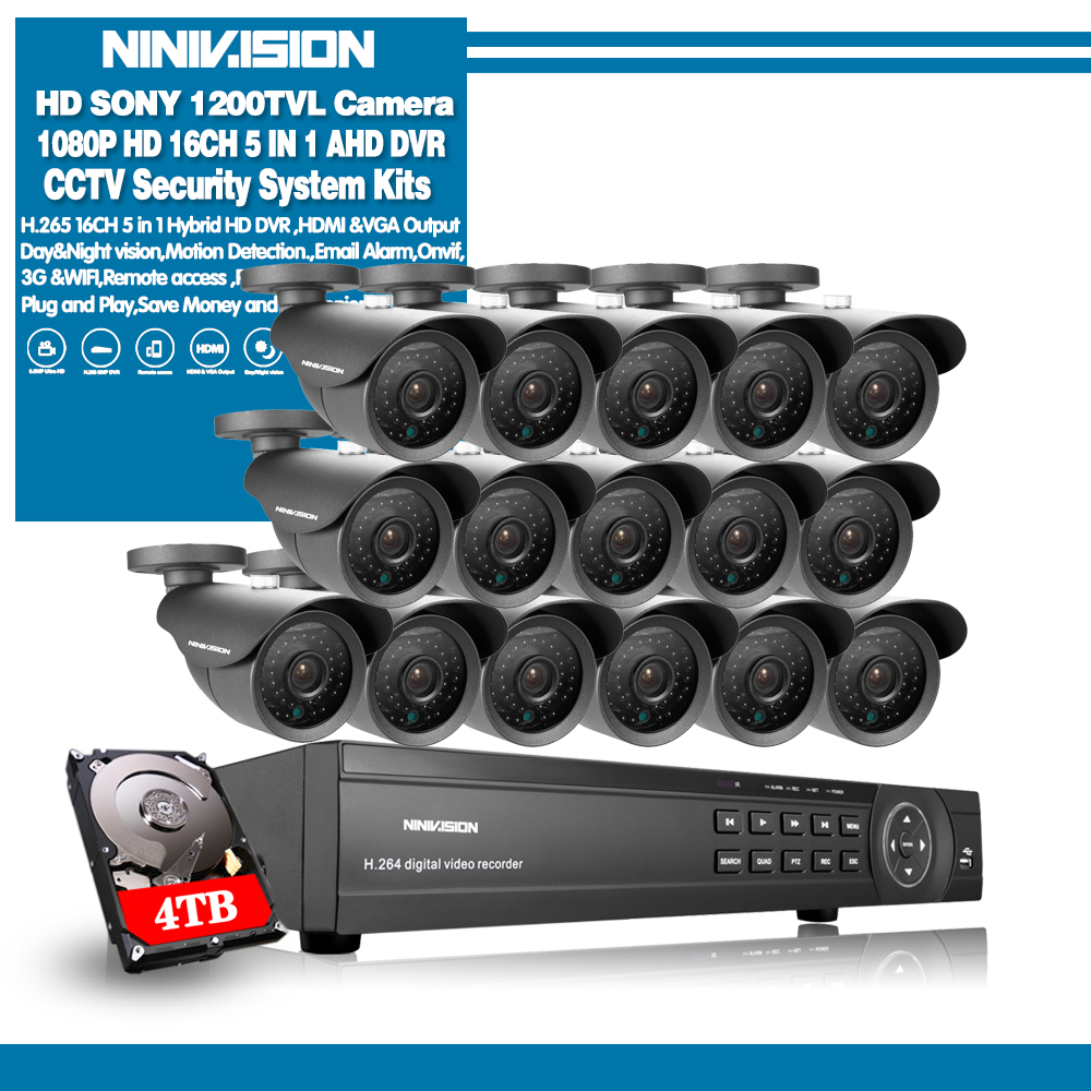 NINIVISION AHD CCTV System 16CH AHD 1080P CCTV DVR Kit HDMI 1080N 1200TVL IR Cameras Security System 16 channel CCTV NVR 1TB HDD-in Surveillance System from Security & Protection