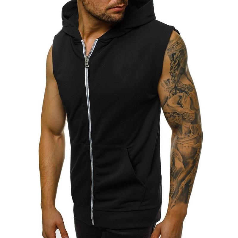 Mens Casual Sleeveless Comfortable Vest Sport Hoodie Zip Up Vest Shirt Man Bodybuilding Stringers Tank Tops Workout Singlet Top