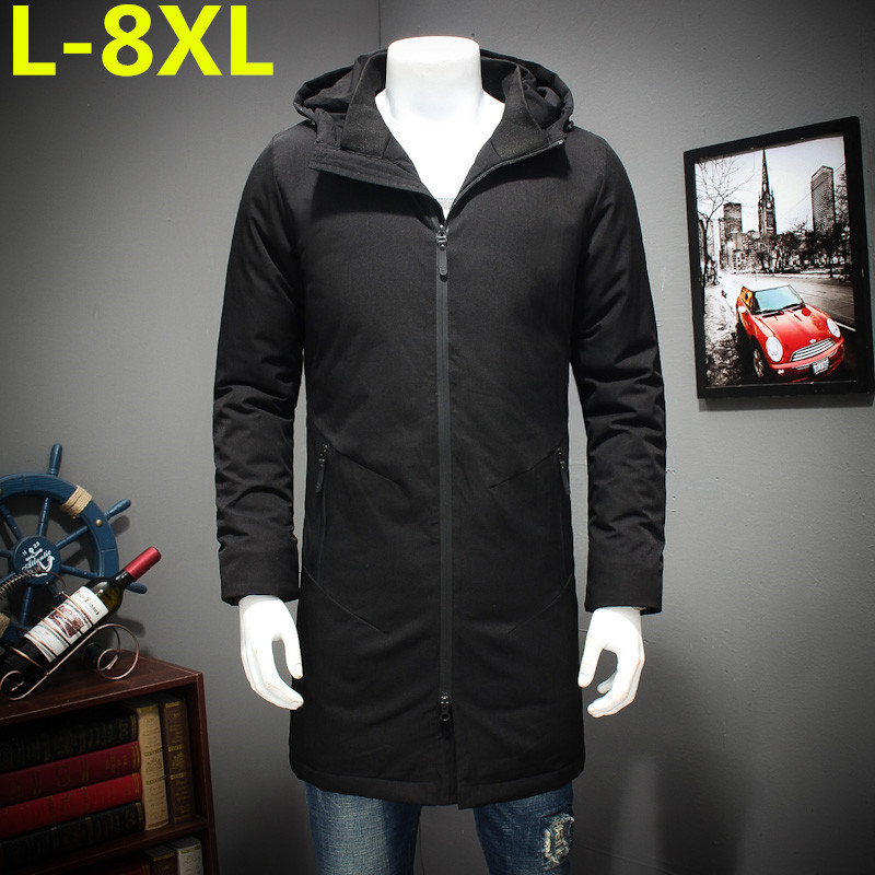Plus Size  8XL 7XL 6XL 5XL New Clothing Jackets Business Long Thick Winter Coat Men Solid Parka Fashion Overcoat Outerwear