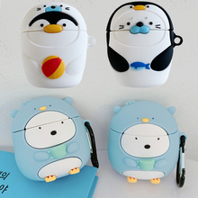 For Apple AirPods Kawaii Penguin Case 3D Cute Cartoon Seal Fish Wireless Earphone Cover Shell for Ai