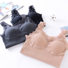 Fashion Girl Tank Top Simple Sexy Lace Straps One-Piece Chest Pad Underwear Women Slimming Soft Vest Tops