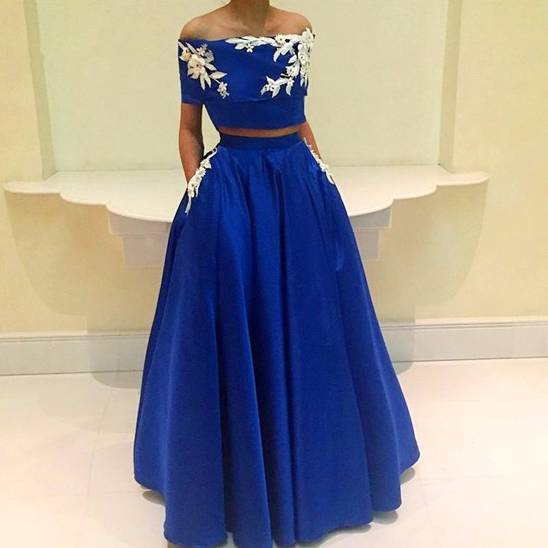 Blue   Prom     Dress   2019 A-line Off The Shoulder Appliques Lace Two Pieces Long   Prom   Gown Evening   Dresses   Robe De Soiree