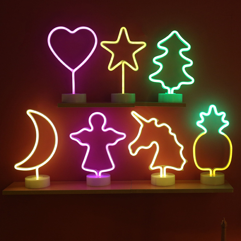 Neon Light Sign LED Night Light Flamingo Unicorn Angel Lamp Battery Powered For Bedroom Table Home Wedding Christmas Decoration