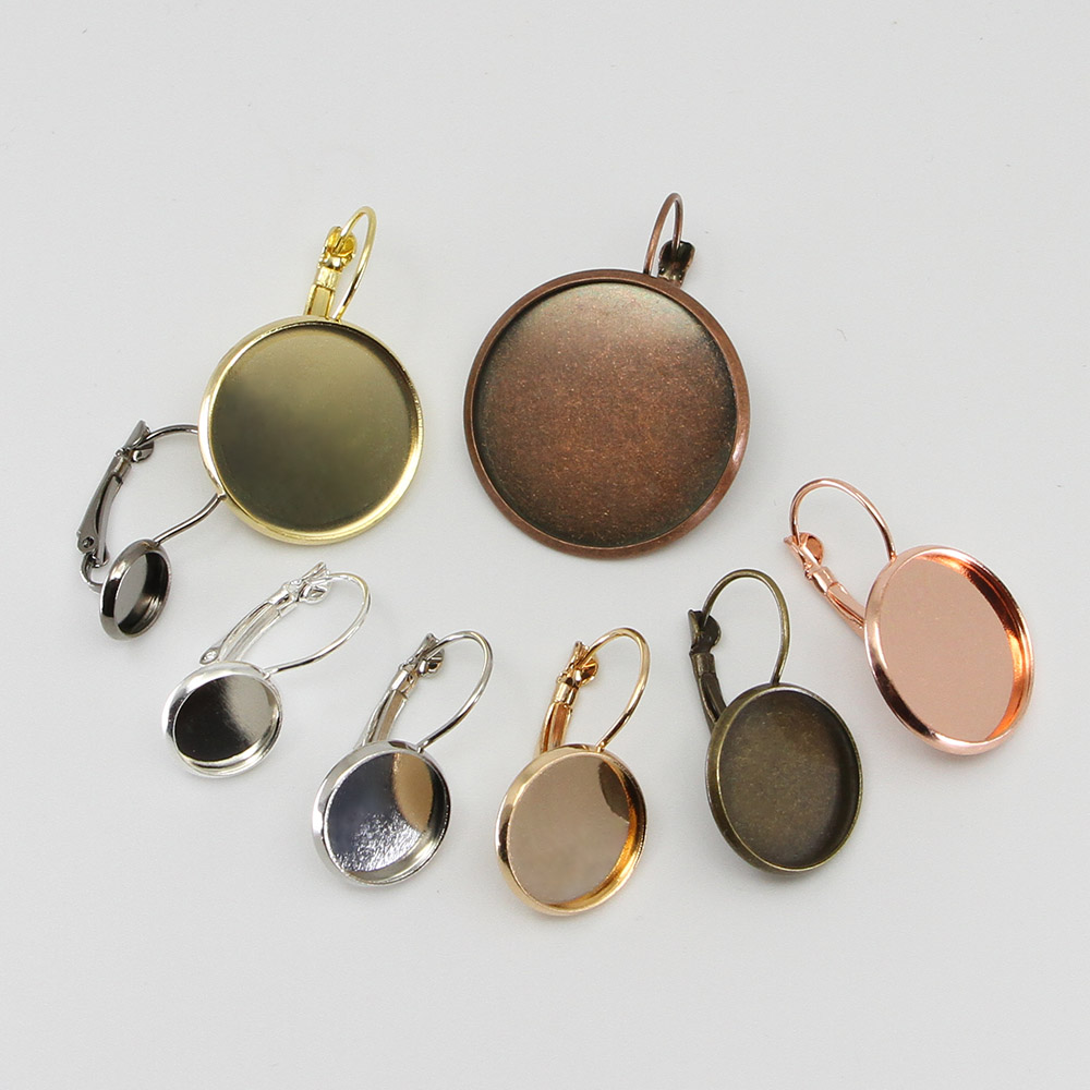 Round French Lever Cabochon Earring Setting Blank Earring Base Cameo Bezels Tray 8 10 12 14 16 18 20 25 mm DIY Jewelry Making in Jewelry Findings Components from Jewelry Accessories
