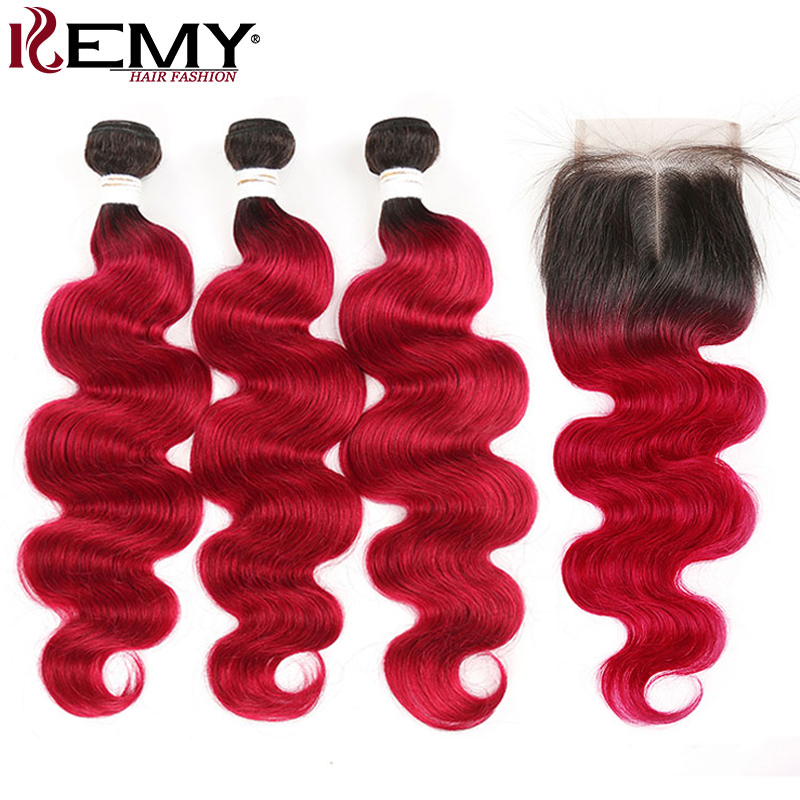 1B 99J/Burgundy Body Wave Ombre Bundles With Closure KEMY Brazilian Human Hair Weave Bundles With Closure Non-Remy Hair Weft