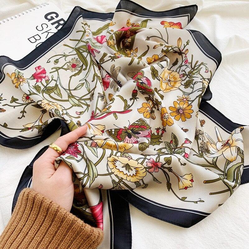 70*70cm Fashion Handkerchief Neck Scarf For Women Small Shawl Silk Satin Hair Scarfs Female Square Headband Bandana Head Scarves