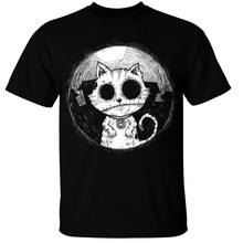 Zombie Cat Mens T-Shirt goth rock burton halloween spooky undead kitty nightmare Casual Plus T-Shirts Style Tops Tee Size S-3Xl