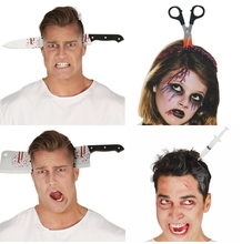 1PC Fake Saw Ax Knife Scary Halloween DIY Headband Tricky Props Horror Party Decor Accessories Decoration
