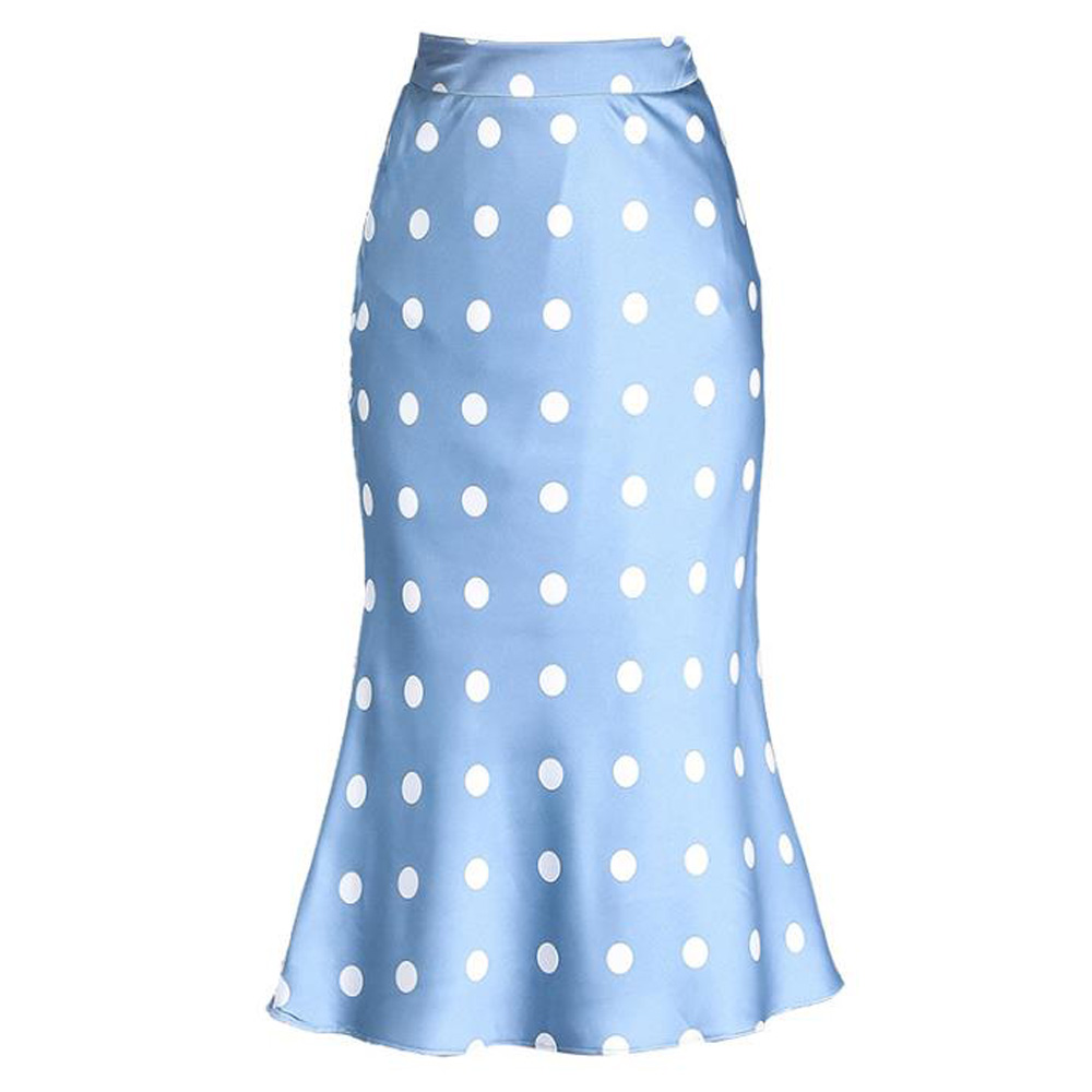 Satin Polka Dot Skirt Women High Waist Ruffles Midi Skirts Summer Autumn Office Lady Silk-Like Slim Work Wear Blue Mermaid Skirt
