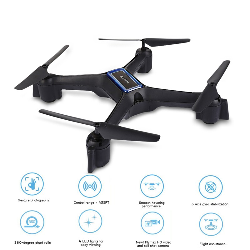 Flymax 2 RC Drones WiFi Quadcopter 2.4G FPV Streaming Drone 6-axis Gyro 4 Bright LED Lights 4 Channels Aircraft Drone