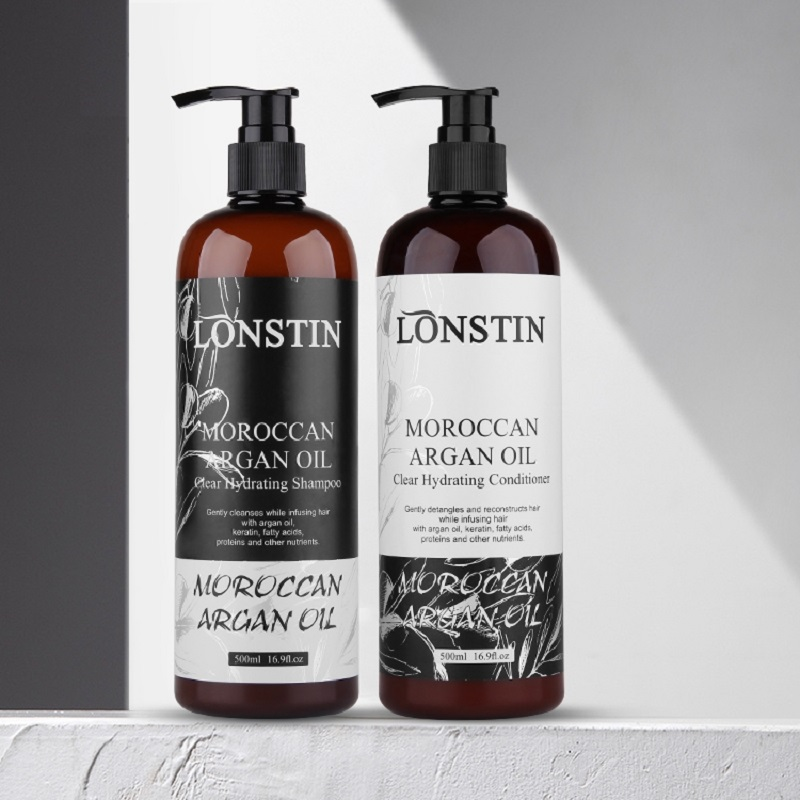 Free Sulfate 500ML Professional Natural Lonstin Moroccan Argan Oil Hair Treatment Shampoo And Conditioner