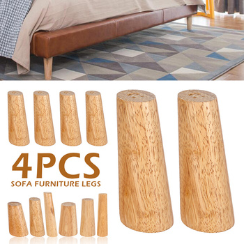 4pcs Wood Furniture Leg Slanting Straight Feet with Iron Plate Accessories Sofa Table Cabinets Wooden Legs Set 8cm / 20cm High - discount item  20% OFF Furniture Accessories