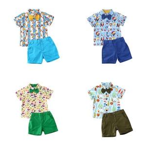 Модный комплект одежды из 2 предметов для маленьких мальчиков, футболка с бантиком и принтом животных + шорты Детская одежда для мальчиков