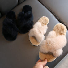 Home Slippers girls Warm Fur Slides Winter Soft Furry slippers Ladies Plush Indoor Shoes Flip Flops Claquette Fourrure#3(China)