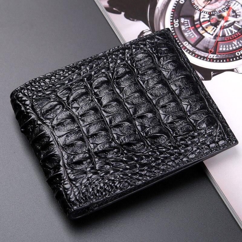 Echtem krokodil leder männer zipper luxus brieftasche hohe qualität leder mode mini dünne geld tasche männer schwarze kurze brieftasche - 6