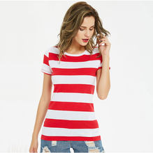 Red and White Striped T Shirt for Women Short Sleeve Round Neck Tees for Women Stripes Colorful Black and White Summer Cool(China)