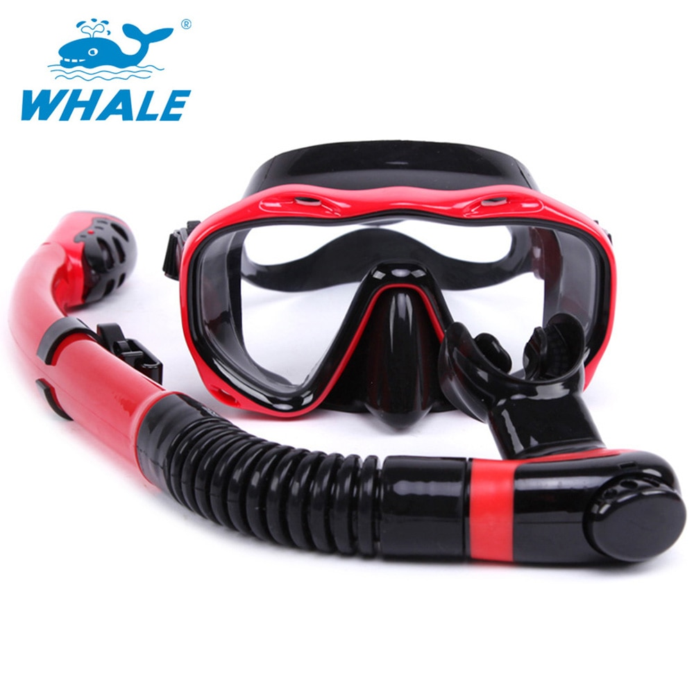Face Snorkeling Mask Set Full Dry Breathing Tube Diving Goggles Toughened Glass Diving Underwater Swimming Training