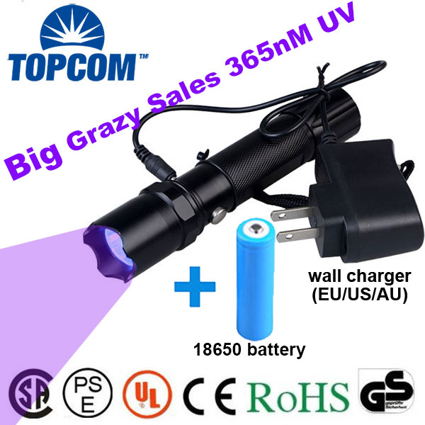 TopCom 3W 395nM 365nM UV Flashlight Rechargeable Ultraviolet Light UV Torch Use For Anti-fake Money Detector Urine Scorpion