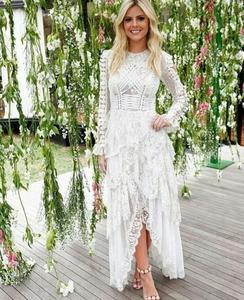 Женское вечернее платье с длинным рукавом, кружевное Сетчатое подиумное платье с рюшами в стиле ретро от европейского дизайнера, Новое пост...