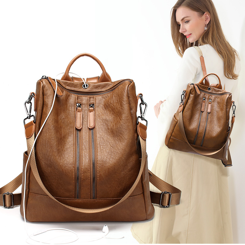 Vintage PU Leather Backpack Female Women School Bags For Teenagers Girls Luxury Backpacks Retro Sac A Dos Bagpack