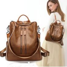 Vintage PU Leather Backpack Female Women School Bags For Teenagers Girls Luxury Backpacks Retro Sac A Dos Bagpack