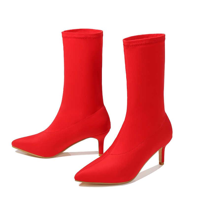 Ayak bileği Çorap Çizmeler Ince Topuk Yüksek Topuklu Elastik yarım çizmeler Sivri Burun Kadın Ayakkabı Seksi Parti Bayanlar Rahat Botlar Kış/ sonbahar