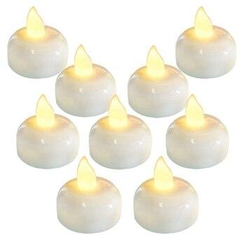 Топ-24 упаковка водонепроницаемый беспламенный плавающий чайный свет, теплый белый батарея Мерцающие светодиодные чайные ОГНИ свечи-Свадеб...