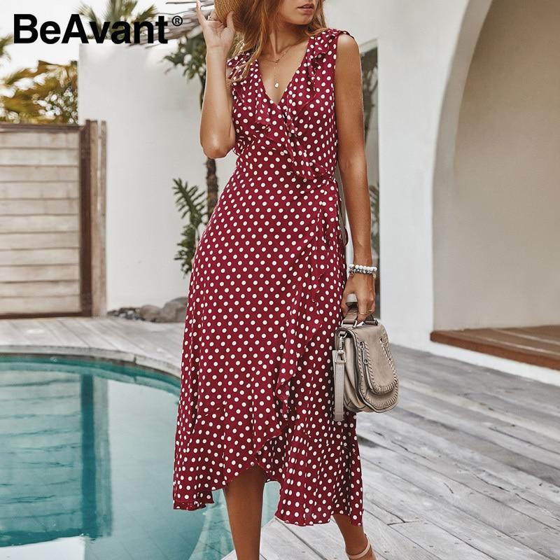 BeAvant Party Sexy Sleeveless Midi Dress Women 2020 Retro Polka Dot V Neck Party Dress Wrap Female High Waist Dresses Plus Size