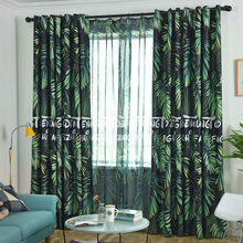 Modern Nordic Tropical Blackout Curtains for Living Room Bedroom Printed Rainforest Plant Leaves Pattern Window Curtain
