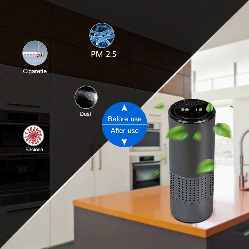 EASY Air Purifier with HEPA Filter Fresh Air Anion Car Air Purifier Infrared Sensor Air Cleaner best for Car Home Office Gray