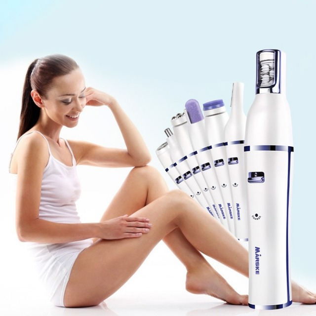 2019 7 In 1 Electric Epilator Shaver Eyebrow Nose Trimmer Electric Manicure Drills Facial Cleansing Brush Massager 5