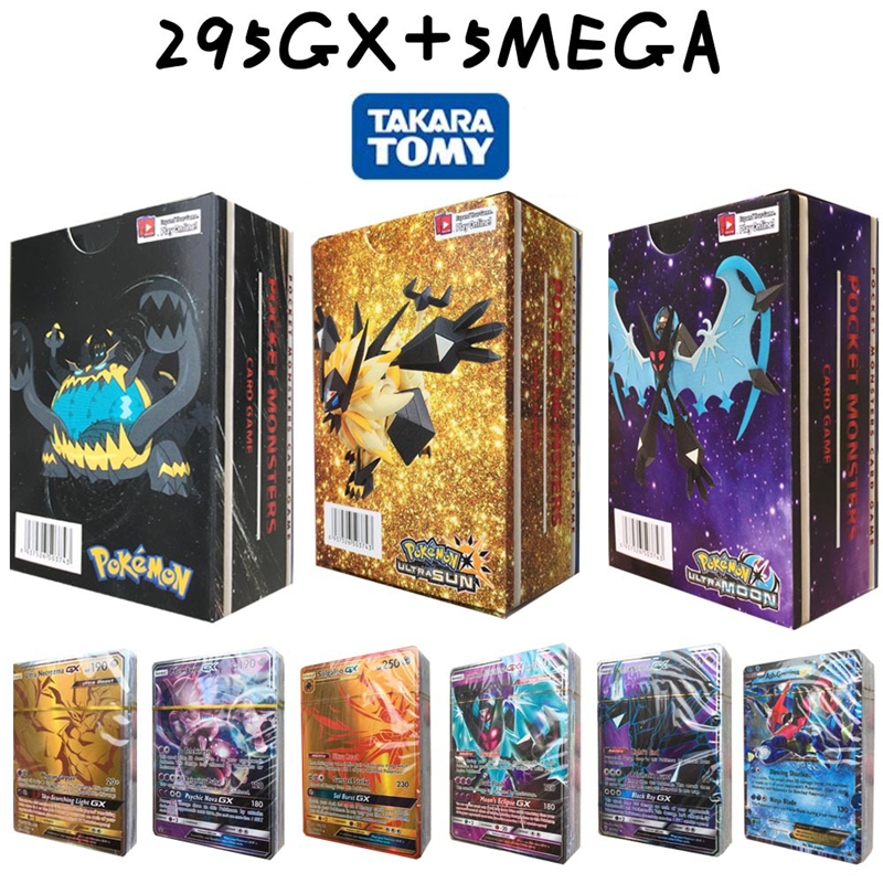 3 Boxes 300Pcs/set Magic Flash Pokemon Card 295GX+5MEG English Version No Repeat Game Collection Trading Cards Kids Gift Toys