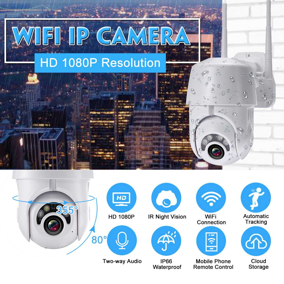 WIFI Camera Outdoor IP Camera H.264 1080p Speed Dome CCTV Security Cameras IP Camera WIFI Exterior 2MP IR Home Surveilance