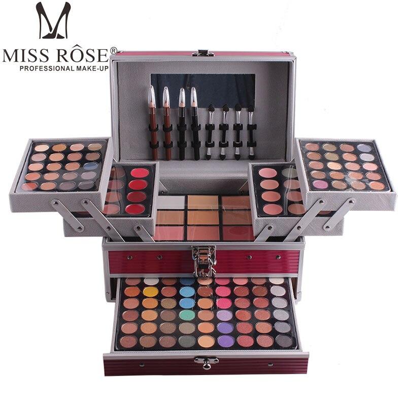 Miss Rose профессиональный набор для макияжа коробка для макияжа Блеск Мерцающий матовая Палетка теней для век Блеск для губ Румяна Кисточки для макияжа