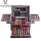Miss Rose профессиональный набор для макияжа коробка для макияжа Блеск Мерцающий матовая Палетка теней для век Блеск для губ Румяна Кисточки для макияжа - 1