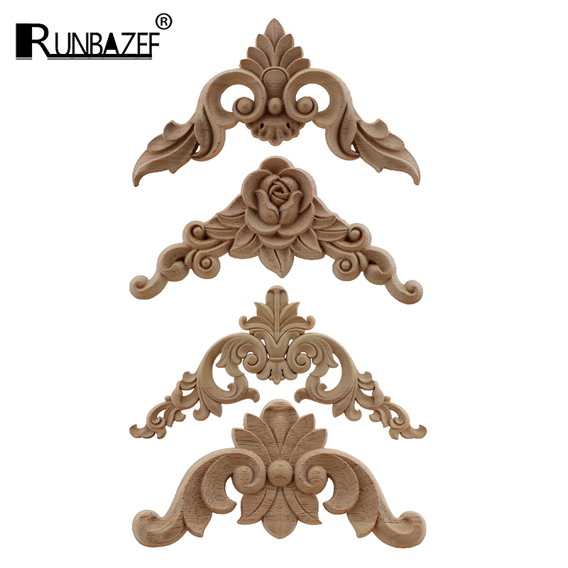 4PCS Decoration Accessories Solid Wood Applique Carved Mouldings Woodcarving Furniture Vintage Home Horn Flower NEW Carving