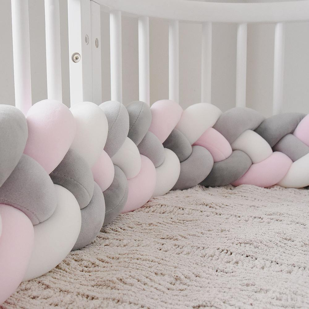 2.2M Baby Bed Bumper Knot Pillow Cushion For Boys Girls Four Braid Baby Cot Bumper Crib Protector Cuna Para Bebe Room Decor