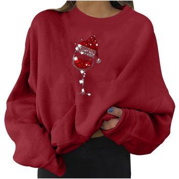 2021 Harajuku Hoodies Christmas Print Sweatshirt Woman Casual  Tops Korean Fashion Street Clothing New Fashion Tops 2
