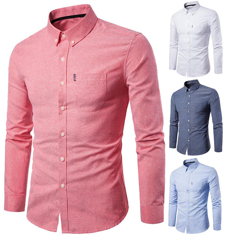 2019 Men Dress Shirt Long Sleeve Slim Man Shirts Designer High Quality Solid Male Clothing Fit Business Shirts