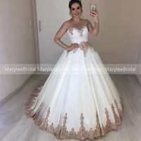 Princess White Wedding Dress With Rose Gold Appliques Off Shoulder See Through Long Sleeves Bridal Dress Ball Gown robe mariage